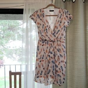 NWOT Feather Wrap Dress